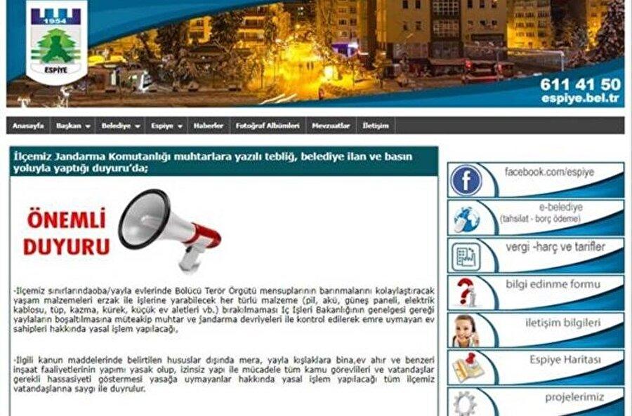 Belediye duyuru yayınladı