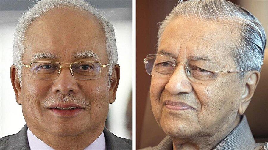 Mahathir Muhammed (sağda), 9 Mayıs'taki seçimlerde Razak'ı devirdi.