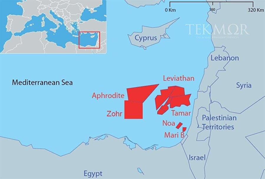 Doğu Akdeniz'deki başlıca doğalgaz yatakları
