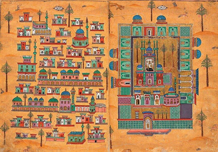 Matrakçı Nasuh'un Beyân-ı Menâzil-i Sefer-i Irâkeyn-i Sultan Süleyman Han adlı eserinde yer alan ve Necef'i gösteren bir minyatür.