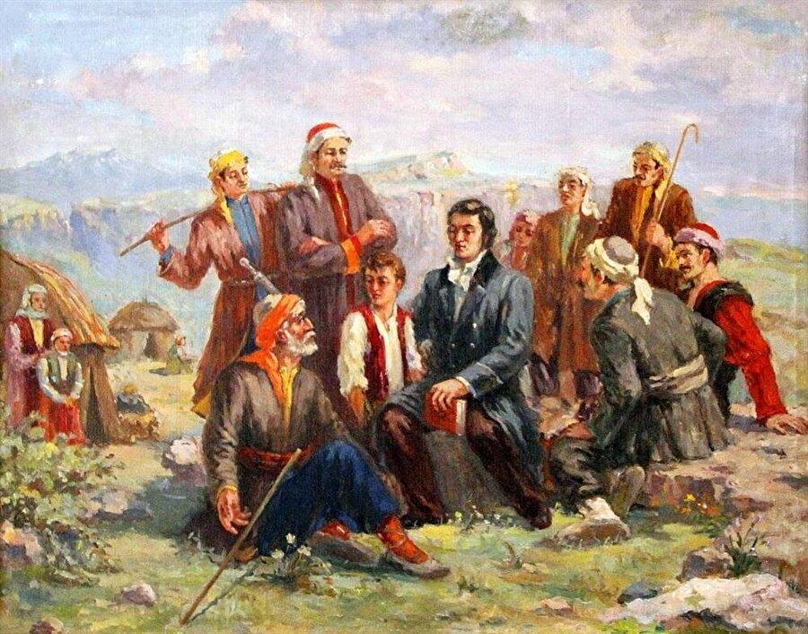 Kürtlerin Orta Asya'daki sürgün yaşamları, Batılıların yaptığı bazı tablolara da konu olmuştur.