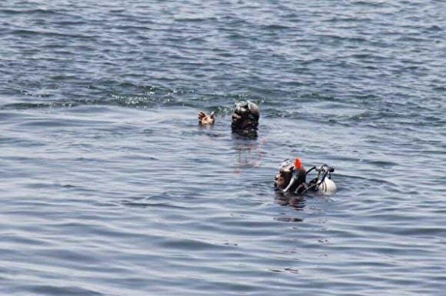 Balık adamlar denizde kaybolanları uzun süre aradı.