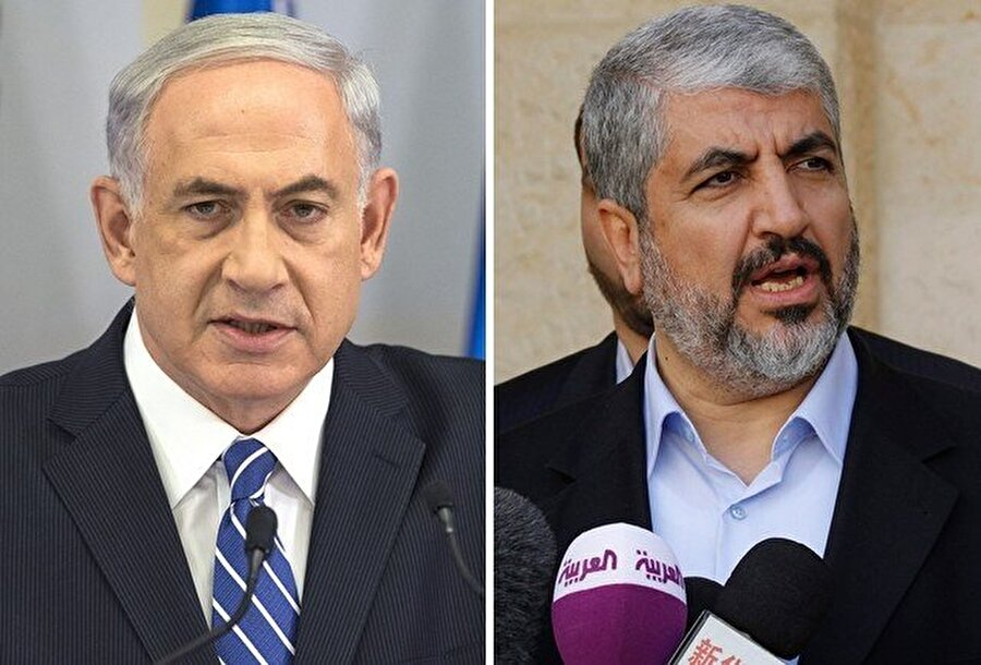 Benyamin Netanyahu, Hâlid Meşal'i (sağda) ortadan kaldırarak Hamas'ı zayıflatacağını hesaplamıştı.