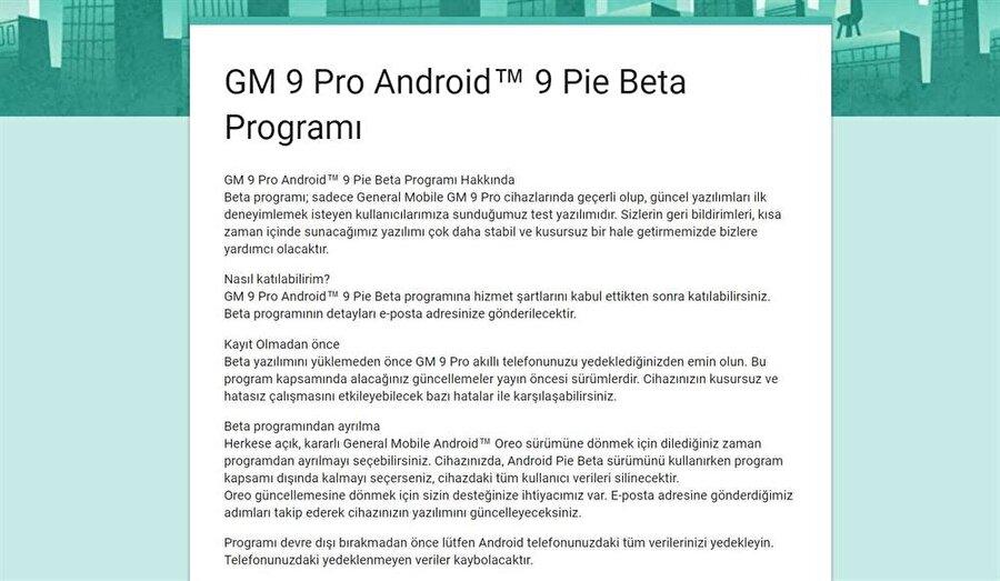 Beta programı kapsamındaki Android Pie güncellemesini yüklemek için öncelikle bağlantı üzerindeki formu doldurmak gerekiyor.