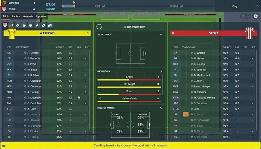 Football Manager 2019'un taktik mücadele ekranı daha dinamik biçimde tasarlanmış durumda.