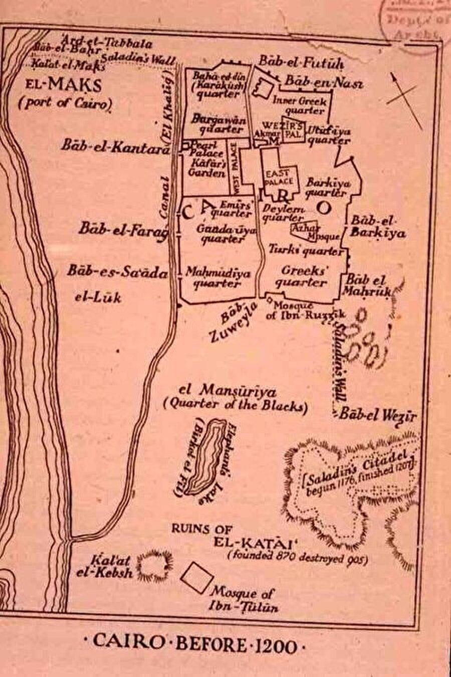 Fatimîler döneminde Kahire'nin planını gösteren bir harita.