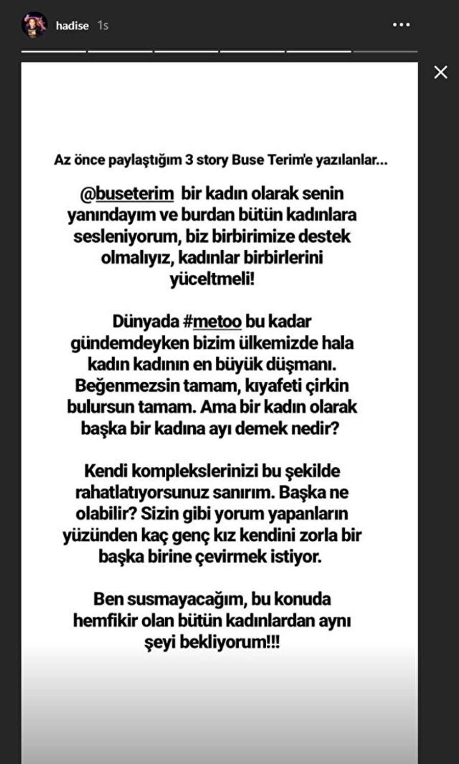 Hadise'nin kendi hesabından paylaştığı destek mesajı