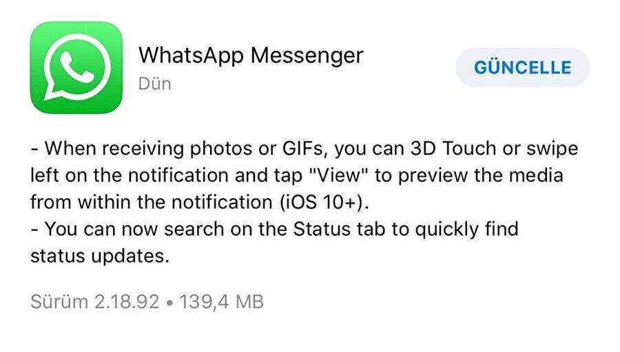 WhatsApp'taki yeni güncelleme temelde iki önemli yenilikle geliyor.