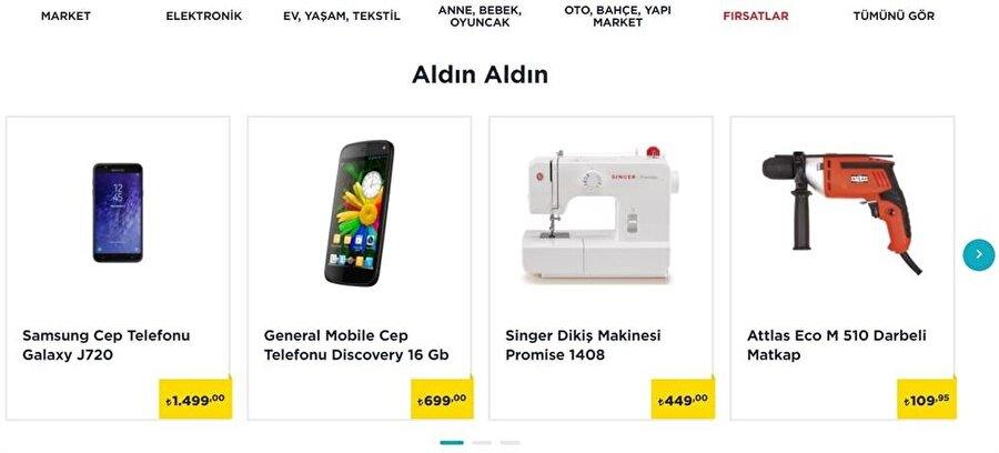 A101'de 'Fırsatlar' kategorisinin en başında şu anda Samsung ve General Mobile'ın akıllı telefonları bulunuyor.