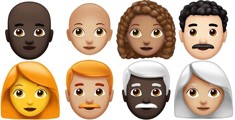 Yeni kıvırcık ve kızıl saçlı emojilerde de yine beş farklı renk rengine yer veriliyor.
