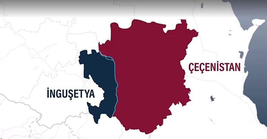 İnguşetya ve Çeçenistan arasındaki sınırların 26 Eylül'de imzalanan anlaşmadan önceki halini gösterir bir harita.