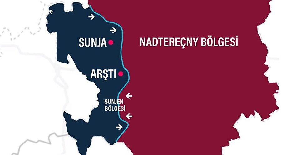 İki bölge arasındaki en son sınır değişikliklerini gösterir güncel bir harita.