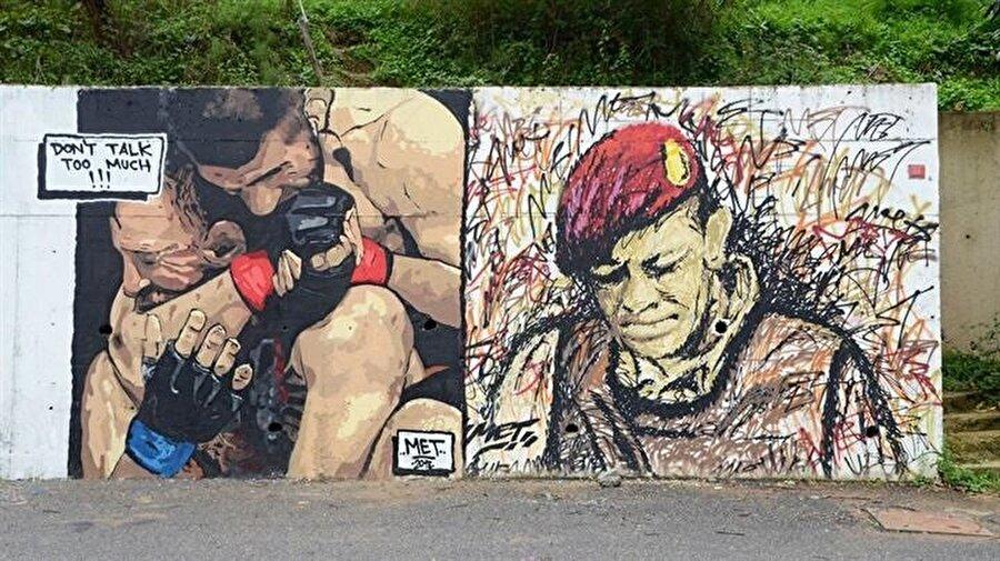 Habib Nurmagomedov ve Ömer Halisdemir'in çizimleri Beykoz duvarlarına anlam katıyor.