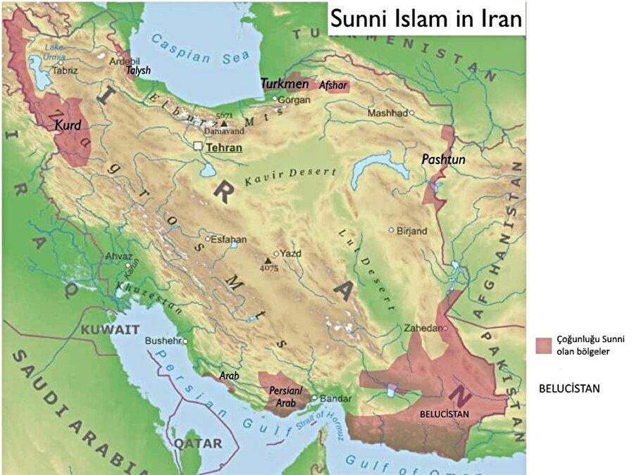 İran'daki Sünni çoğunluğun bulunduğu bölgeleri gösteren bir harita.