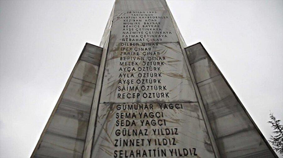 Patlamada ölen insanların isimleri yapılan anıtın üzerine yazıldı.