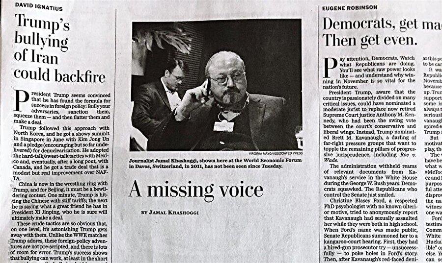 Cemal Kaşıkçı'nın yazılarını yayınlayan Washington Post gazetesi, Kaşıkçı'nın köşesini boş bıraktı.