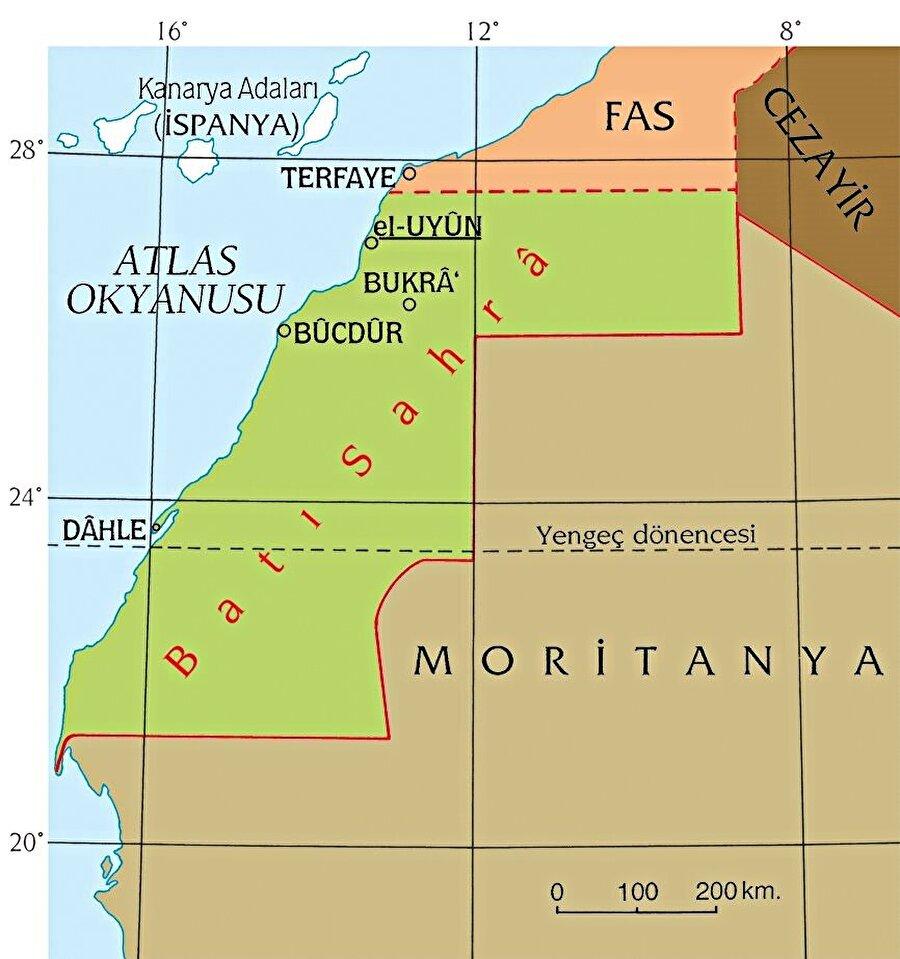 Fas-Cezayir-Moritanya arasında kalan Batı Sahra.