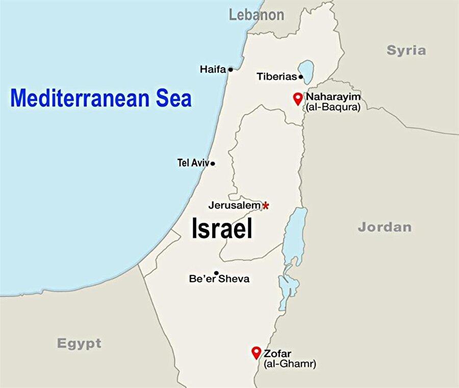 El-Bakura ve el-Gamr bölgeleri İsrail-Ürdün sınırında bulunuyor.