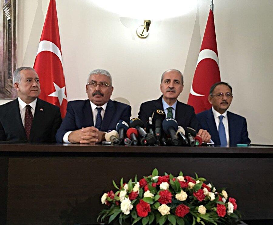 AK Parti ile MHP arasındaki ittifak görüşmesinin 2. etabına AK Parti'den Genel Başkanvekili Numan Kurtulmuş ve Genel Başkan Yardımcısı Mehmet Özhaseki; MHP'den ise Genel Başkan Yardımcıları Semih Yalçın ve Sadir Durmaz katılmıştı.