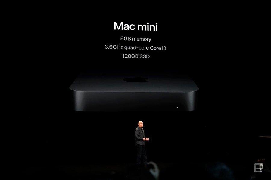 Mac mini'de Core i3 işlemcili ve 8 GB RAM / 128 GB SSD'li seçenek giriş seviyesinde yer alıyor. Fotoğraf: Engadget.