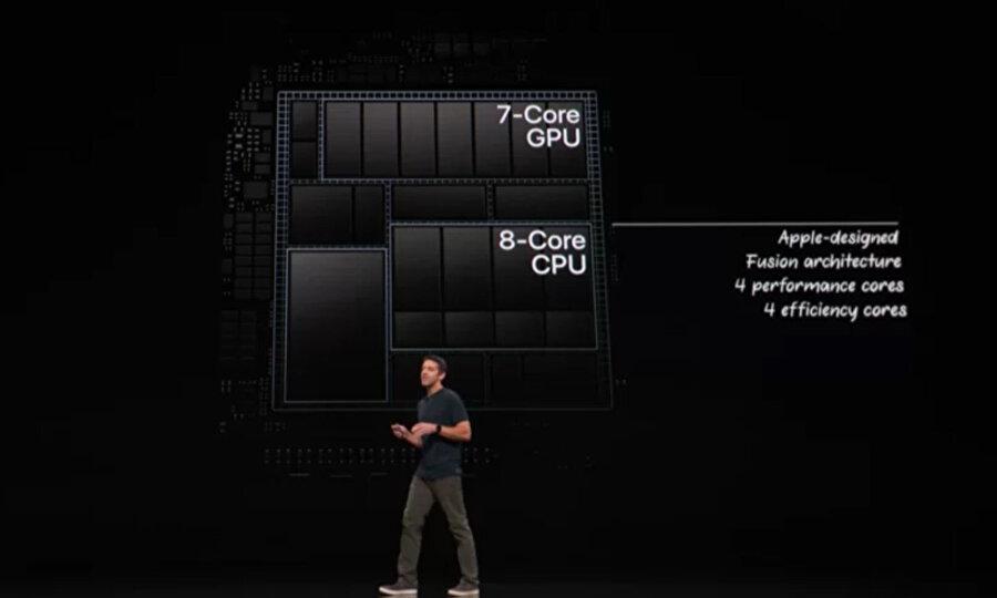 Apple A12X Bionic yongasında 8 çekirdekli 4+4 yapısında çalışan 8 çekirdekli bir işlemci yer alıyor.