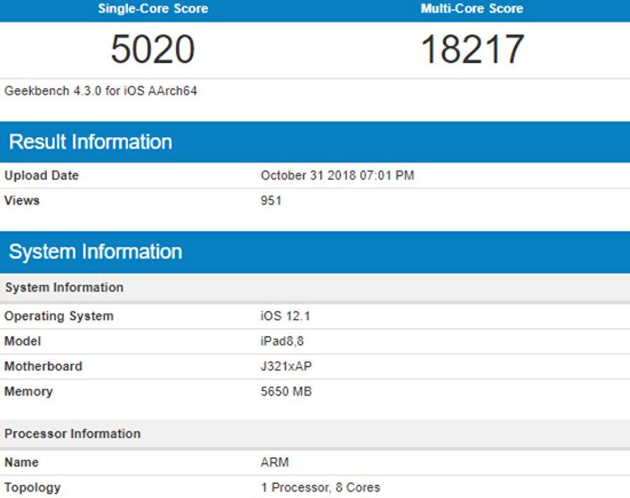 Yeni iPad Pro, benchmark testlerinde tek çekirdekte 5000'in üzerine çıkarken; çift çekirdekte ise 18 bin puan seviyesine yükseliyor.