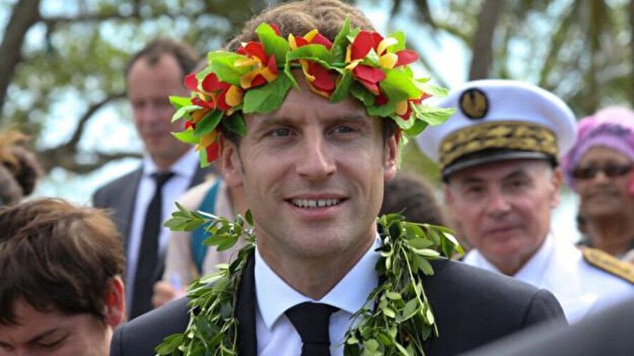 Fransa Cumhurbaşkanı Macron'un, Mayıs ayında Yeni Kaledonya'ya yaptığı ziyaretten bir kare