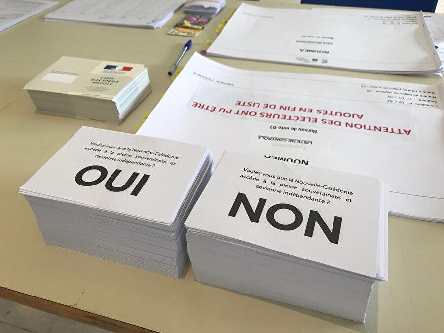 Referandumda üzerinde Fransızca evet ve hayır yazan oy pusulaları kullanıldı.