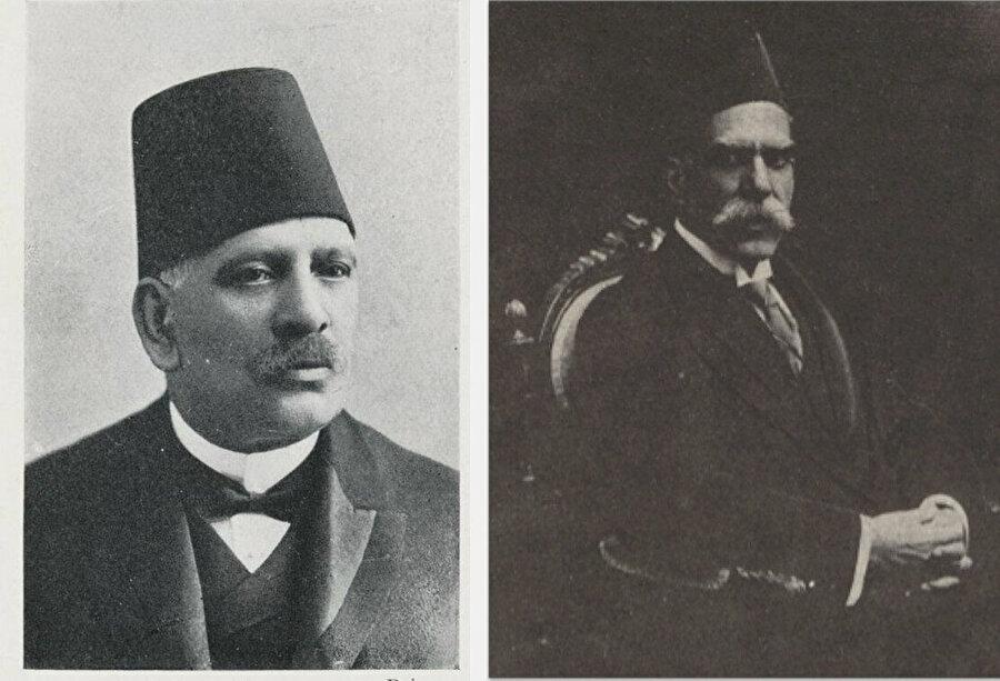 Mısır'ın İngiliz yönetimi altında olduğu dönemde Başbakanlık yapmış iki Kıptî: Butros Gali (sağda) ve Yusuf Vahbe Paşa (solda).