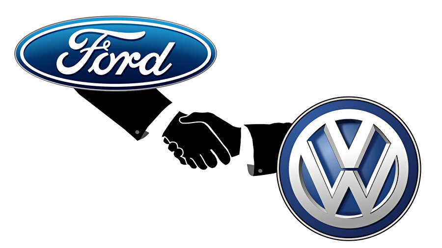Volkswagen ve Ford'un ortaklığını ifade eden illüstrasyon.