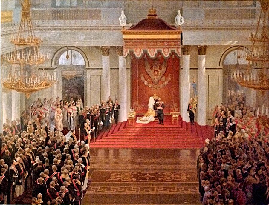 Çar II Nikolay Birinci Duma'nın açılışını yapmış ve sonra da bir konuşma gerçekleştirmişti. Renklendirilmiş versiyon ( 27 Nisan 1906)