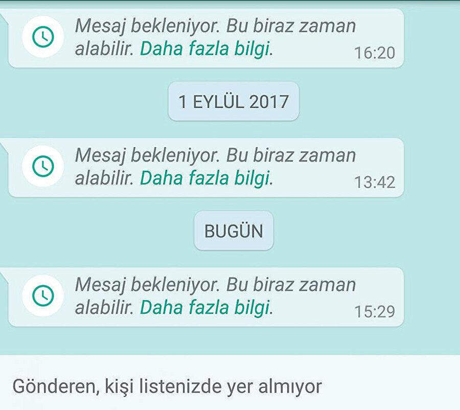 WhatsApp'ta 'Mesaj Bekleniyor' uyarısı gelen kullanıcılar, 'Daha fazla bilgi' bağlantısına tıklayarak tüm detaylara erişebiliyor.