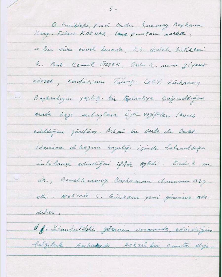 Faik Türün'ün kendi eliyle yazdığı günlüğünden notlar