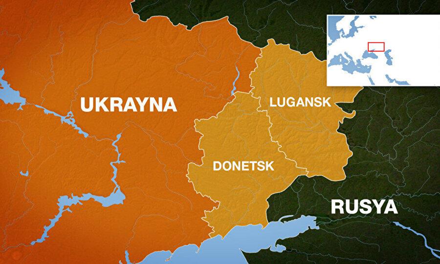Sarı renkli bölgeler Rusya'nın desteğini alarak, Ukrayna'dan tek taraflı bağımsızlığını istedi.