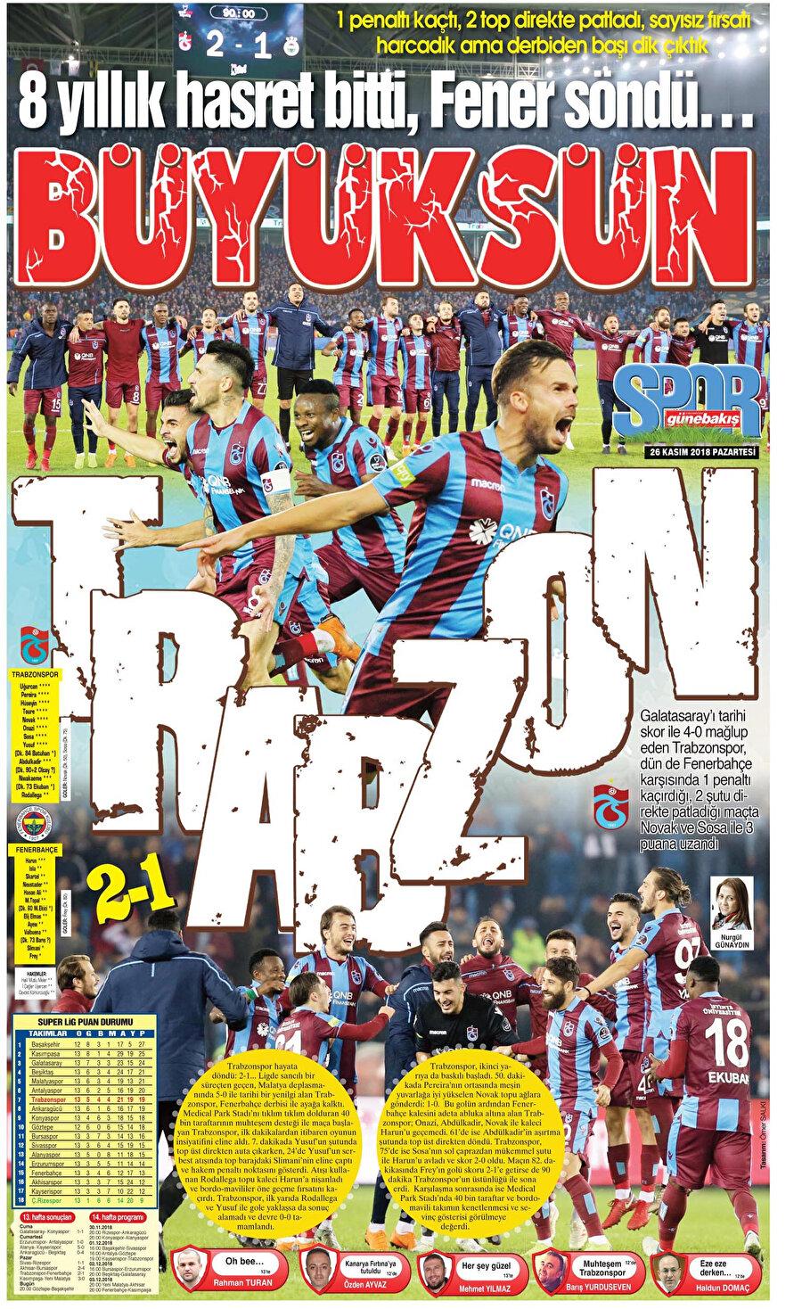 Yerel Gazeteler, atmış olduğu başlıklarla Trabzonspor'un zaferini okuyucularına duyurdular.