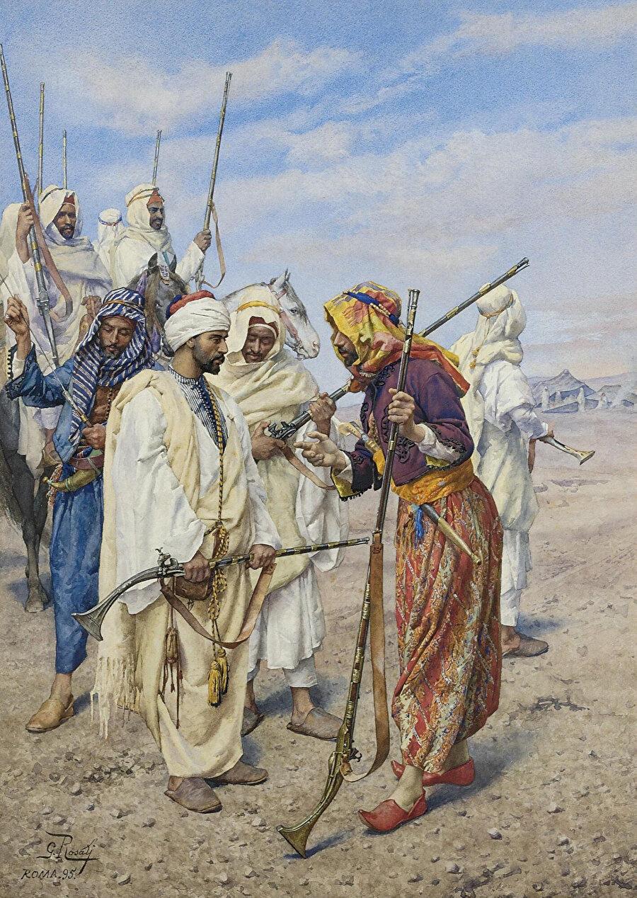 """""""Bedeviler savaş için devriye atıyor"""" tablosunda da görülebildiği gibi Rosati tablolarında çöl ve savaş temalarına ağırlık vermiştir."""