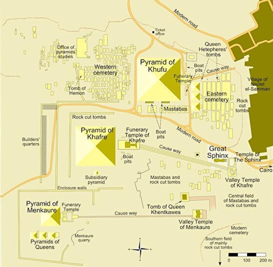 Şekil 7: Giza piramitleri ve planları.