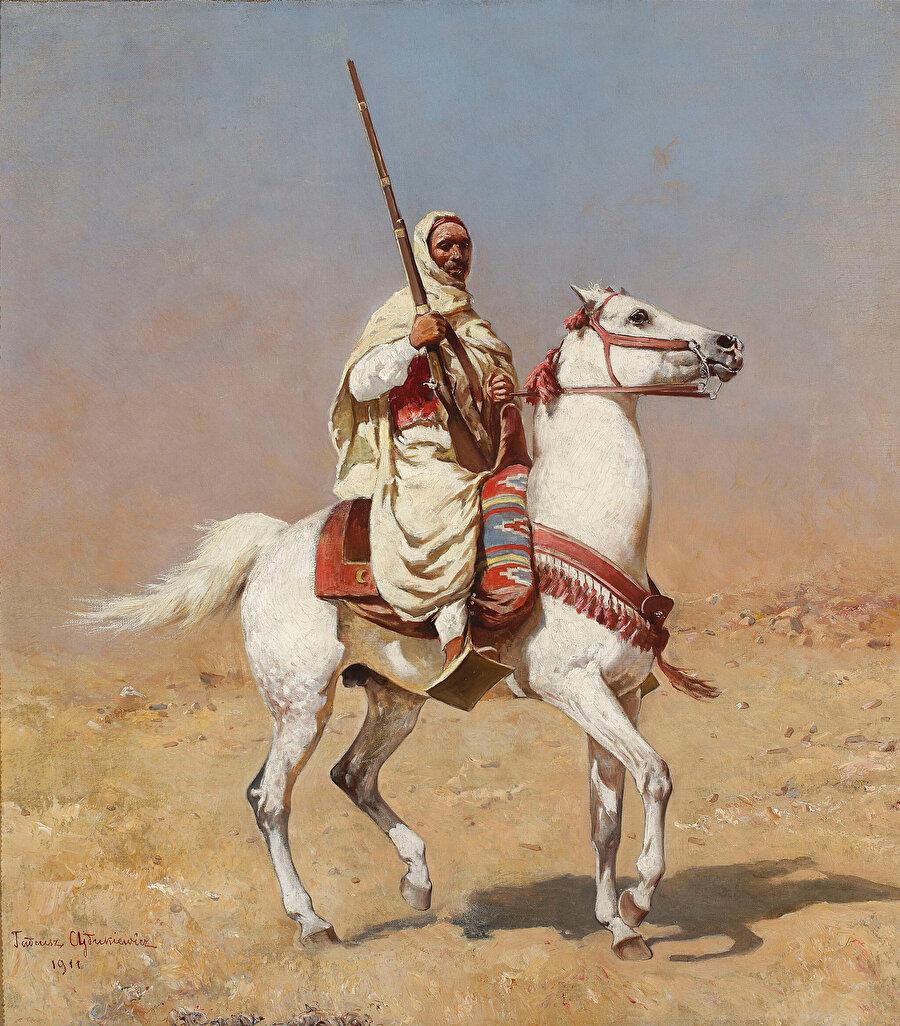 """""""Beyaz atlı Arap"""" tablosunda da görülebileceği gibi, hayvanlar Tadeusz Ajdukiewicz'in çalışmalarında önemli bir yer kaplıyordu."""