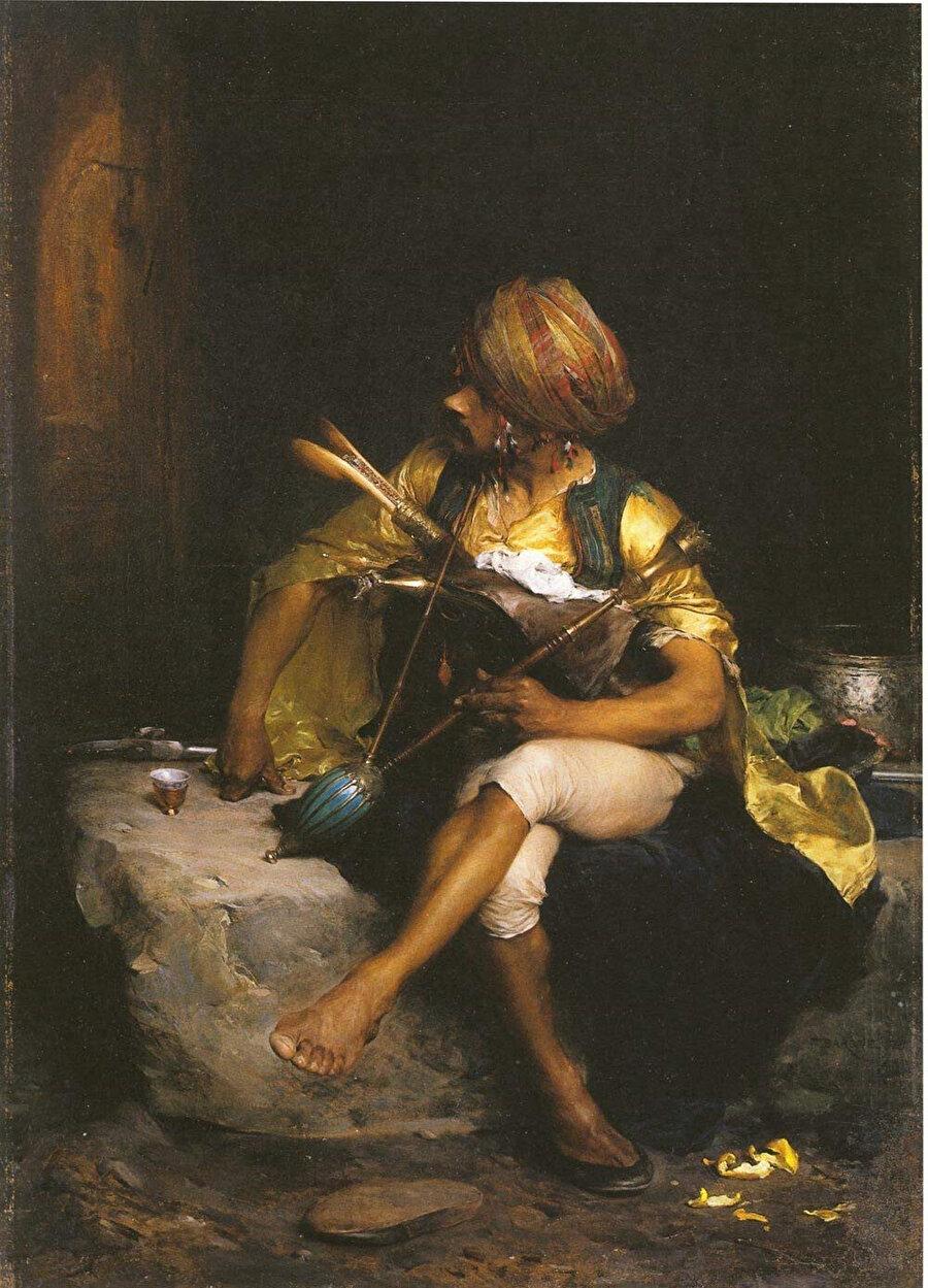 """Bargue bir Osmanlı askerini tasvire eden """"Başıbozuk"""" tablosunu, hocası Gérôme'un ünlü tablosu """"Başıbozuk""""tan esinlenerek çizmiştir."""