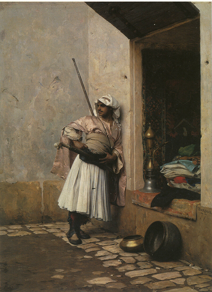 """Bargue'un """"Türk bekçisi"""" tablosu aynı konseptte birçok eskiz çiziminin ardından ortaya çıkmıştır"""