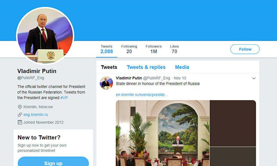 Vladimir Putin ismiyle 6 yıl boyunca kullanılan 1 milyon takipçili sahte twitter hesabı.