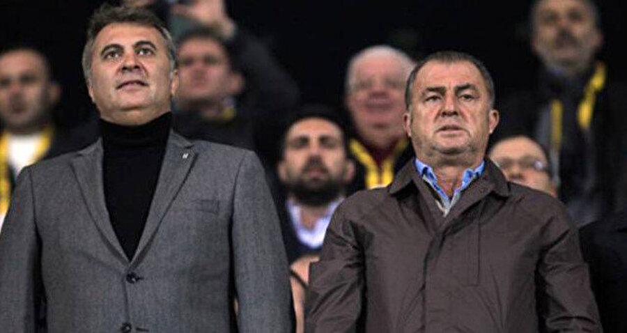 Arşiv: Beşiktaş Başkanı Fikret Orman ve Galatasaray Teknik Direktörü Fatih Terim, maç. öncesinde İstiklal Marşı söylüyor...