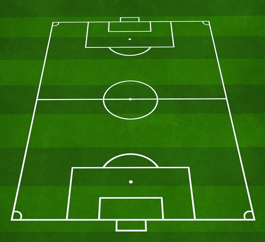 Nizami ölçülere göre çizilmiş bir futbol sahası grafiği.