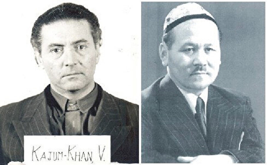 Veli Kayyum Han (solda) Nürnberg Mahkemesi öncesi ve Mustafa Çokay.