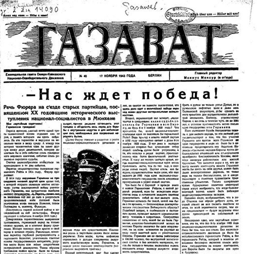 Kuzey Kafkasya Komitesi tarafından Rusça basılan Gazavat gazetesinin 17 Kasım 1943 sayılı nüshası... Manşetteki yazı: Zaferi Bekliyoruz!