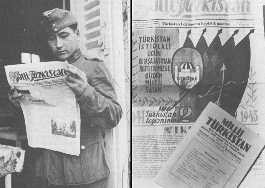 Yeni Türkistan Gazetesi okuyan lejyon askeri.