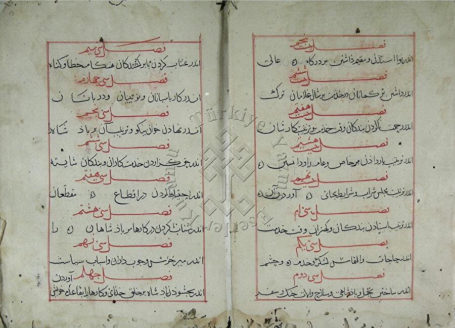 Nizâmülmülk'ün nesih hatla istinsah edilmiş Siyâsetnâme'sinin (Sîyeru'l-mülûk) Süleymaniye Kütüphanesi Molla Çelebi Koleksiyonu'nda yer alan yazmasından örnek sayfalar.