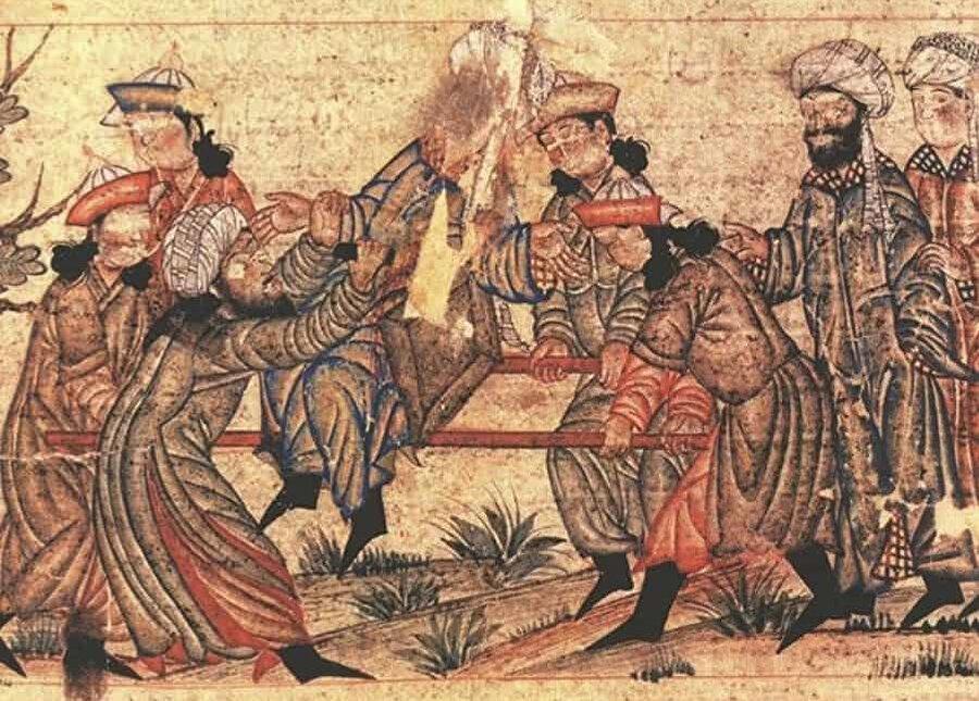 14 yüzyıla ait bir yazmada Nizâmülmülk'ün şehit edilişini gösteren bir minyatür.