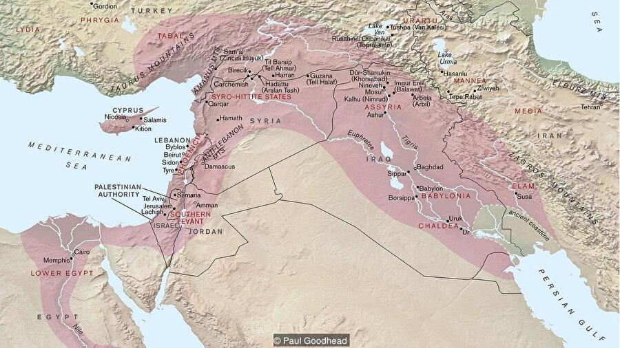 Asur imparatorluğunun en geniş sınırları.