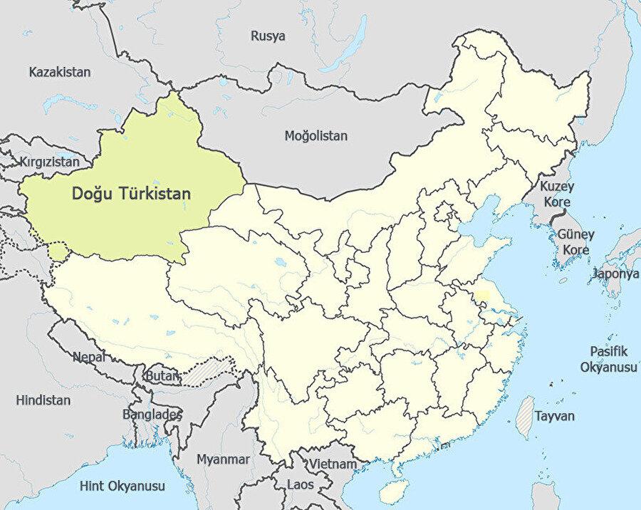 Doğu Türkistan'ın dünya haritasındaki yeri.